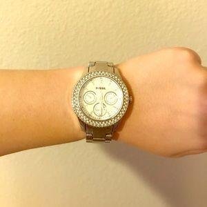 Silver Fossil Stainless Steel Watch w/ Quartz Stud